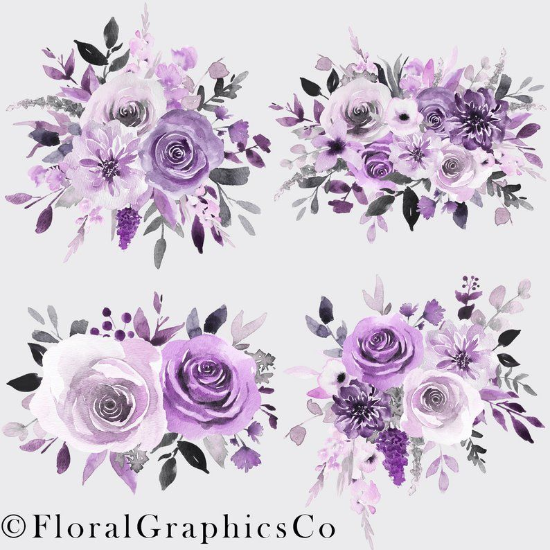 Watercolor Floral Clipart Purple And Gray Floral Bouquets Roses