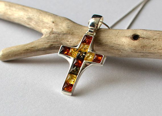 Amber cross necklace amber pendant tri color baltic amber amber cross necklace amber pendant tri color baltic amber mozeypictures Gallery