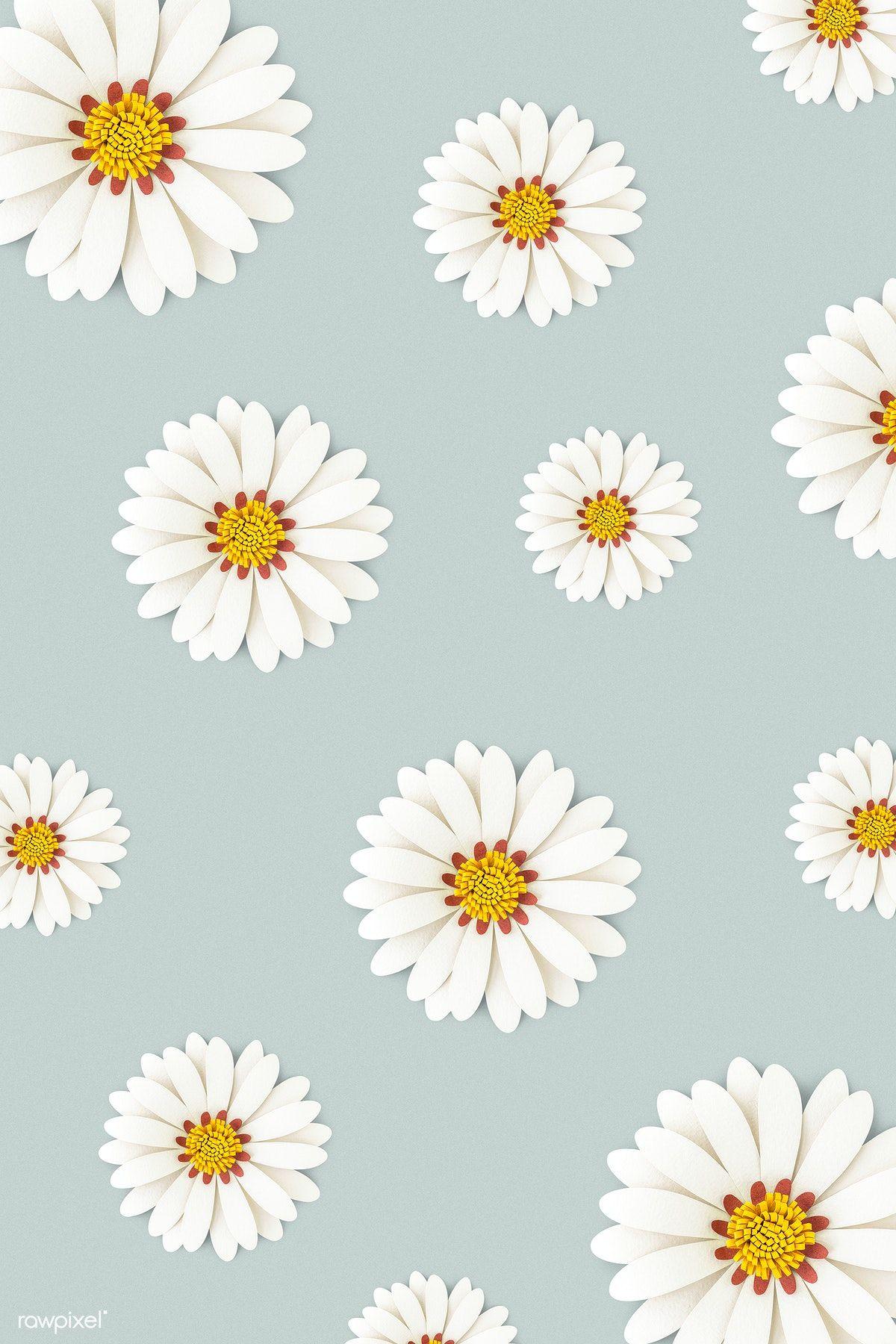 Botanical illustration, aesthetic pastel … Download premium psd of White daisy flower on light blue ...