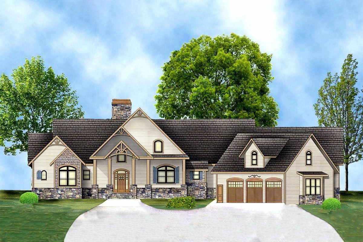 Plan 12277jl Rustic Ranch With In Law Suite House Plans Ranch House Plans Ranch Style Home