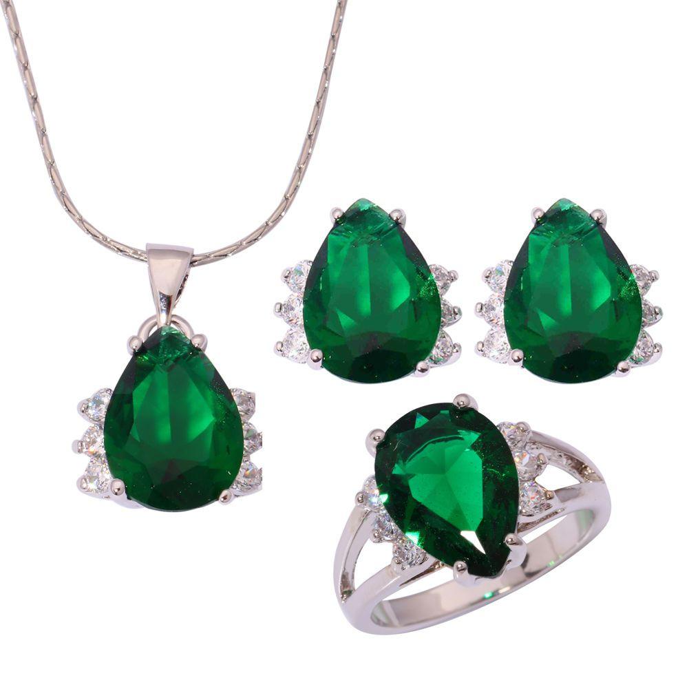 Green quartz cz silver for women necklace pendant earring ring