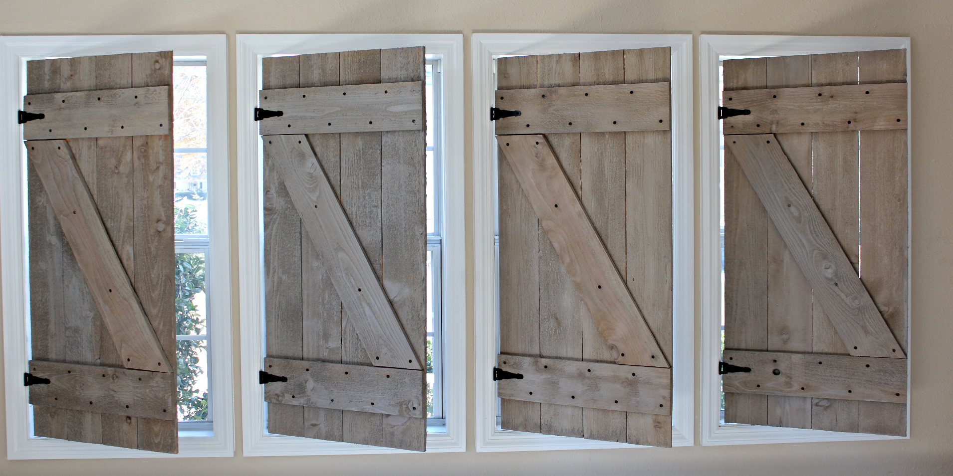 Barn inspired window treatments. People are in awe of these as they adorn our own home. Choose any paint color, white wash or stain and we will start these handsome works of art for you right away. Shoot us an email.