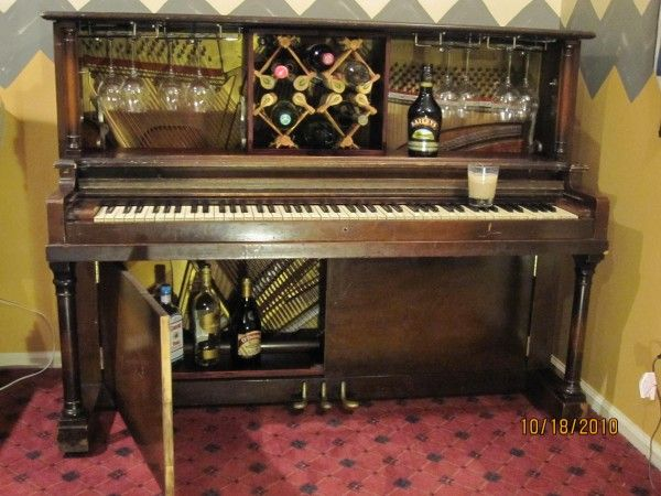 piano bar reconfiqured from a 1952 price teeple upright studio piano features pull out wine. Black Bedroom Furniture Sets. Home Design Ideas