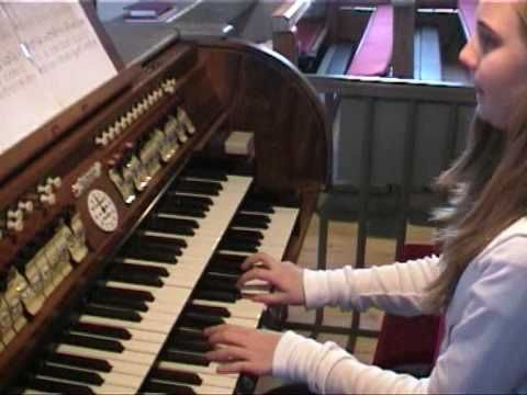 11 year old girl plays church organ I Vow to Thee, My Country