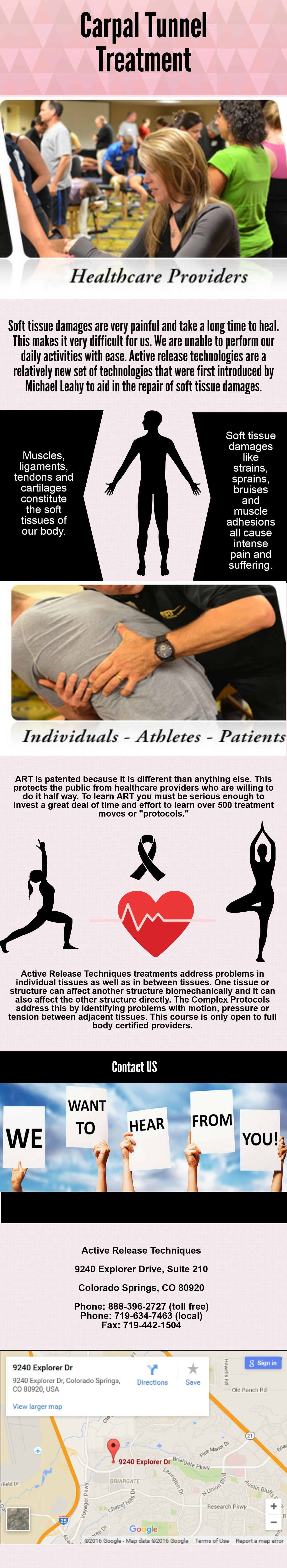 We provide effective treatments. Carpal tunnel syndrome treated as early as possible after you begin to experiences symptoms. For more info visit us http://activerelease.com/