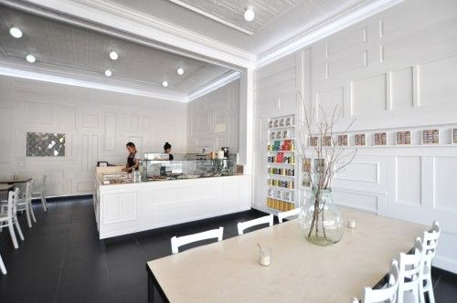 recycled doors cladding white wall simplicity cafe interior ...