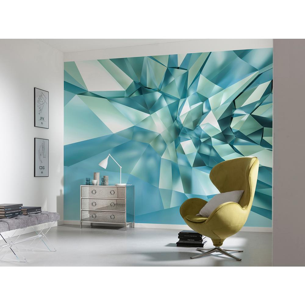 Komar Abstract 3d Crystal Cave Wall Mural 8 879 The Home Depot In 2020 Bedroom Wall Colors Wall Murals Wallpaper Panels