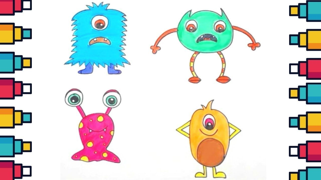 How To Draw Cute Cartoon Monsters Step By Step Cartoon Monster Drawing Kids Cute Drawings Cartoon Monsters Drawing For Kids