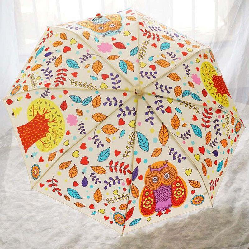 Owl Pattern Anti-UV Waterproof Rain//Sun Umbrella Fashion Three Folded Umbrella