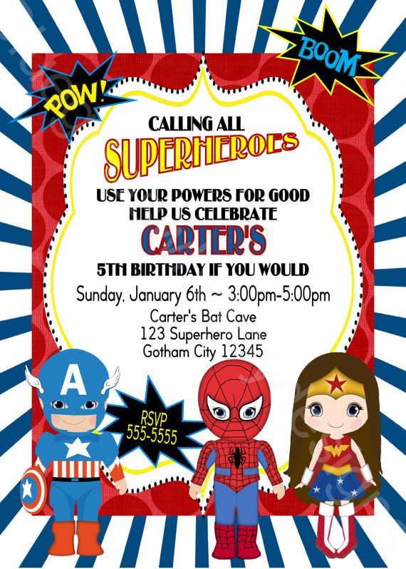 Calling All Superheroes Birthday Party Invitation Boy Or Coed Red