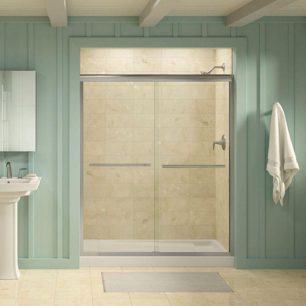 Kohler Gradient 59 5 8 In X 70 1 16 In Semi Frameless Sliding Shower Door In Matte Nickel With Crystal Clear Glass K 709064 L Mx Frameless Sliding Shower Doors Shower Doors Yellow Bathrooms