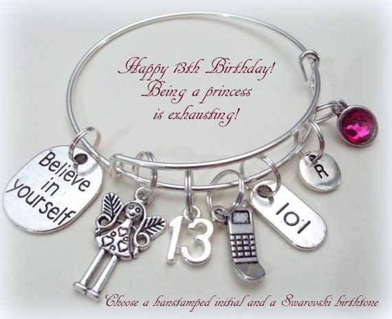 13th Birthday Gift For Girl Gift For 13 Year Old Girl Gift Etsy Birthday Charm Bracelet 13th Birthday Gifts Birthday Gifts For Girls