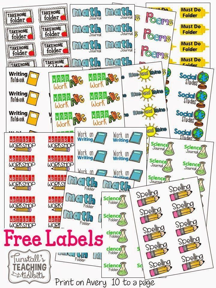 Classroom Labeling Ideas : Free labels for folders classroom organization