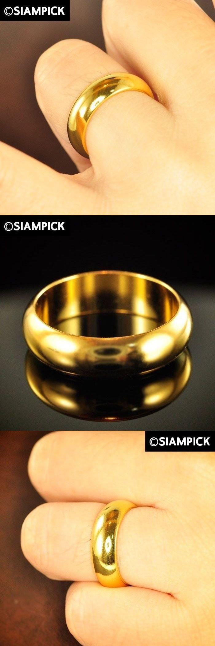 Rings 98512 Shiny 24k Thai Baht Yellow Gold Plain Ring Wedding Engagement Bridesmaid Gift Gp Buy It Now Wedding Rings Engagement Plain Rings Wedding Rings