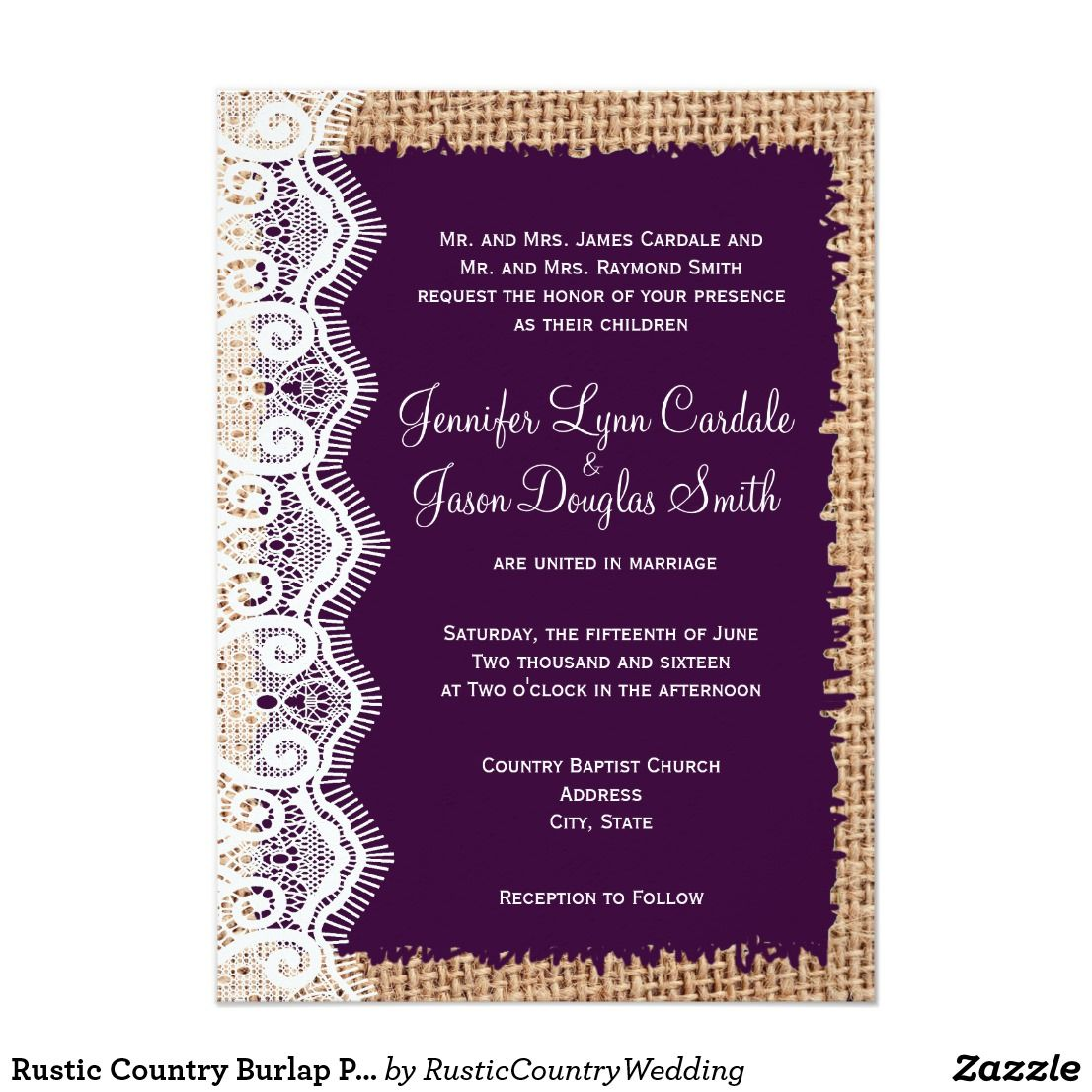 Rustic Country Burlap Purple Wedding Invitations Zazzle Com My