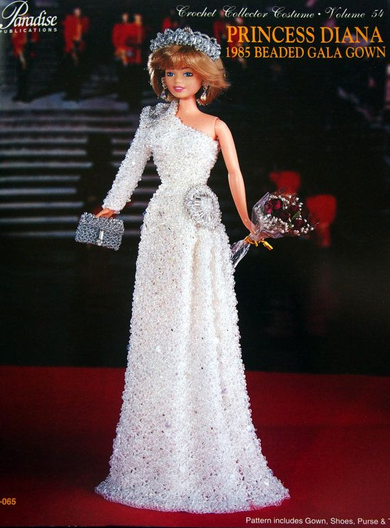 Princess Diana 1985 Beaded Gala Gown Crochet Collector Costume ...
