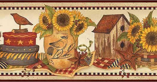 Sunflower Crocks Wallpaper Border Hah15063b Wallpaper Border