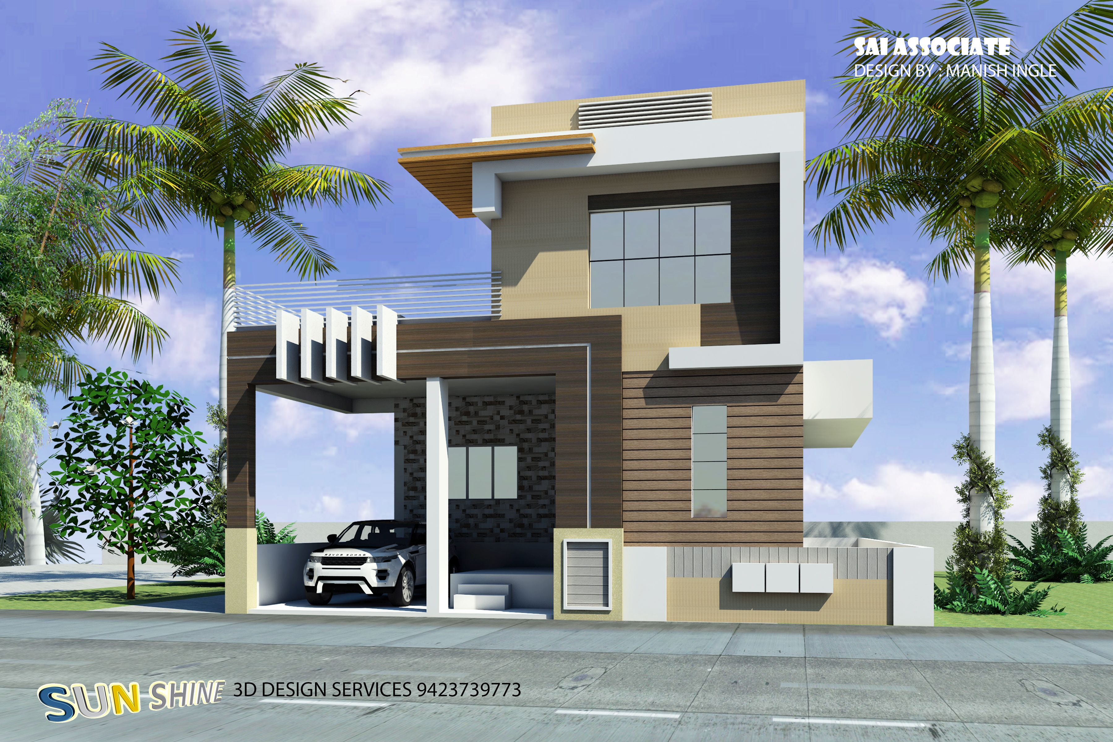 2 Bhk Home Design Single Floor With Staircase Tower Bunglows In