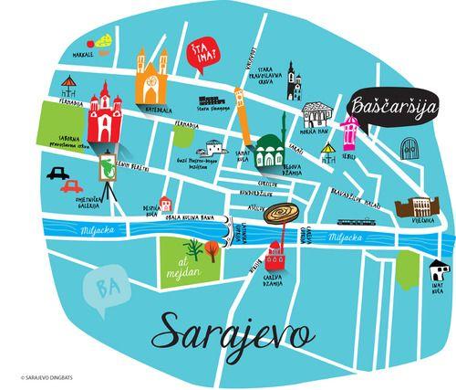 Sarajevo Map Sarajevo Souvenirs Sarajevo Dingbats Pinterest - Where is sarajevo