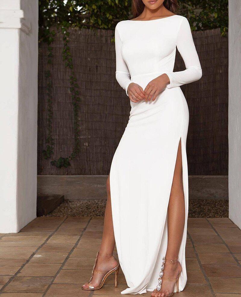 Backless Long Sleeve High Side Split Bodycon Elegant Maxi Dress Simple Craze Elegant Dresses For Women Long Sleeve Dress Formal Elegant Dresses [ 984 x 800 Pixel ]
