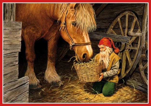 Scandinavian Swedish Christmas Poster Print Tomte Feeds Horse Bergerlind #233