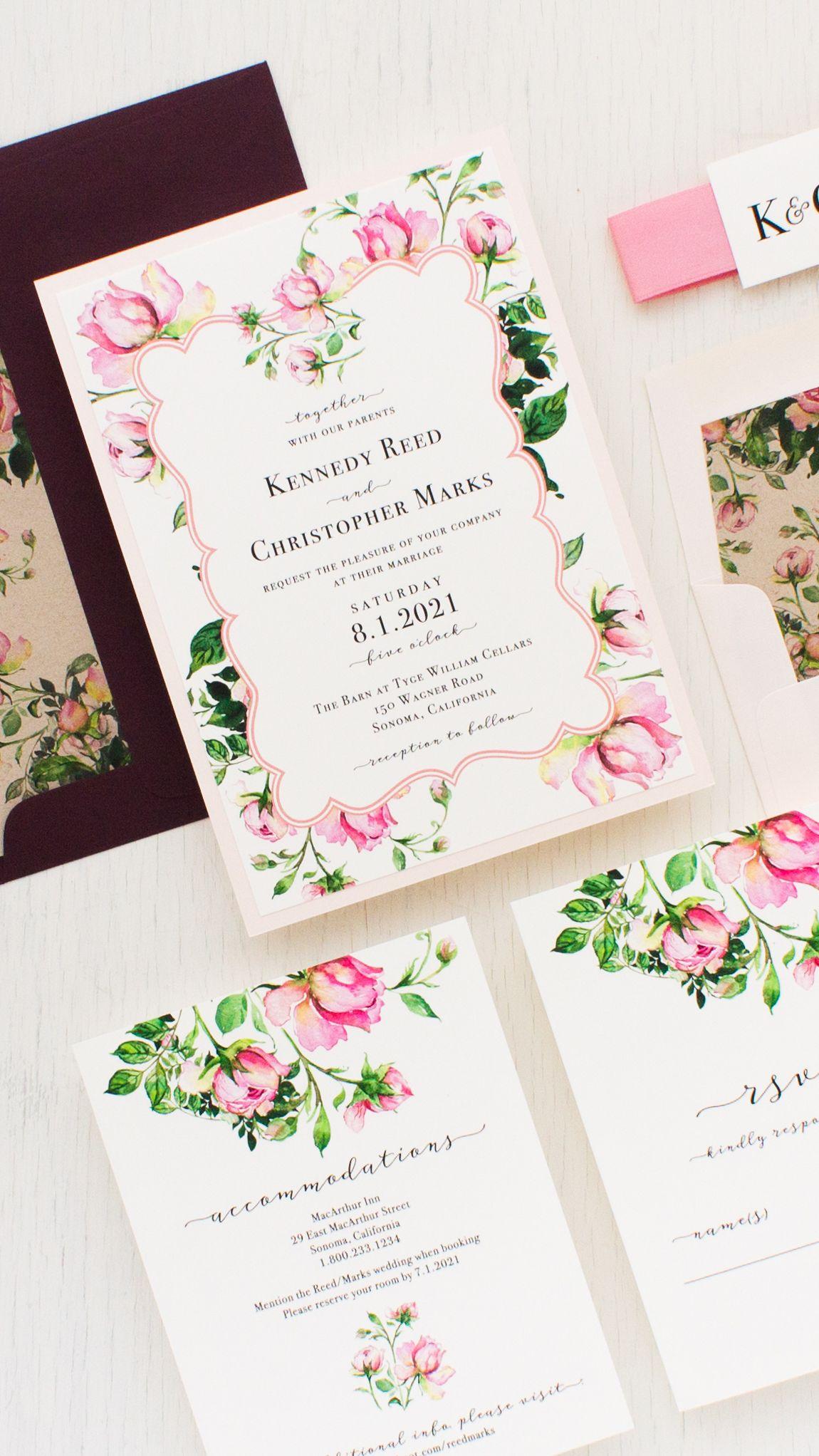 Dusty Rose Wedding Invitations Burgundy Pink Beacon Lane Wedding Invitations Diy Wedding Invitations Rose Wedding Invitations