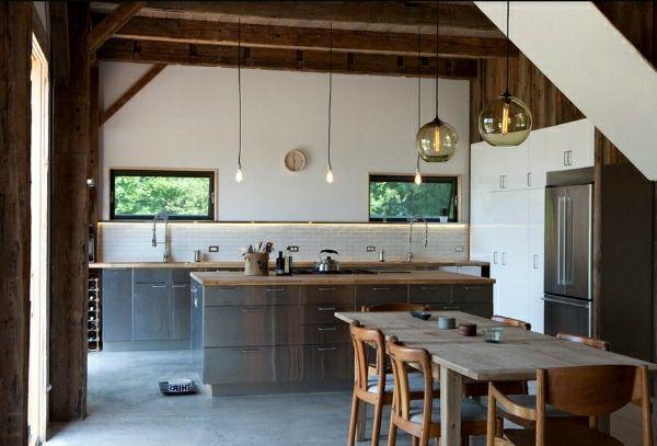 edelstahl-küche-esstisch-holz-pendelleuchten-dekoideen - hohe - kche mit esstisch