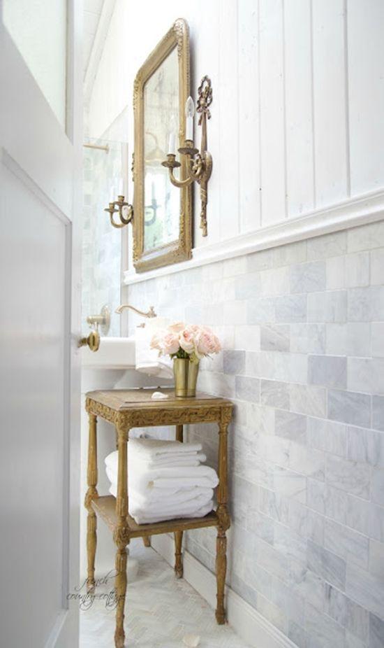 Traditional bathroom with elegant sconces as bathroom vanity lighting design decor wall @lampsplus