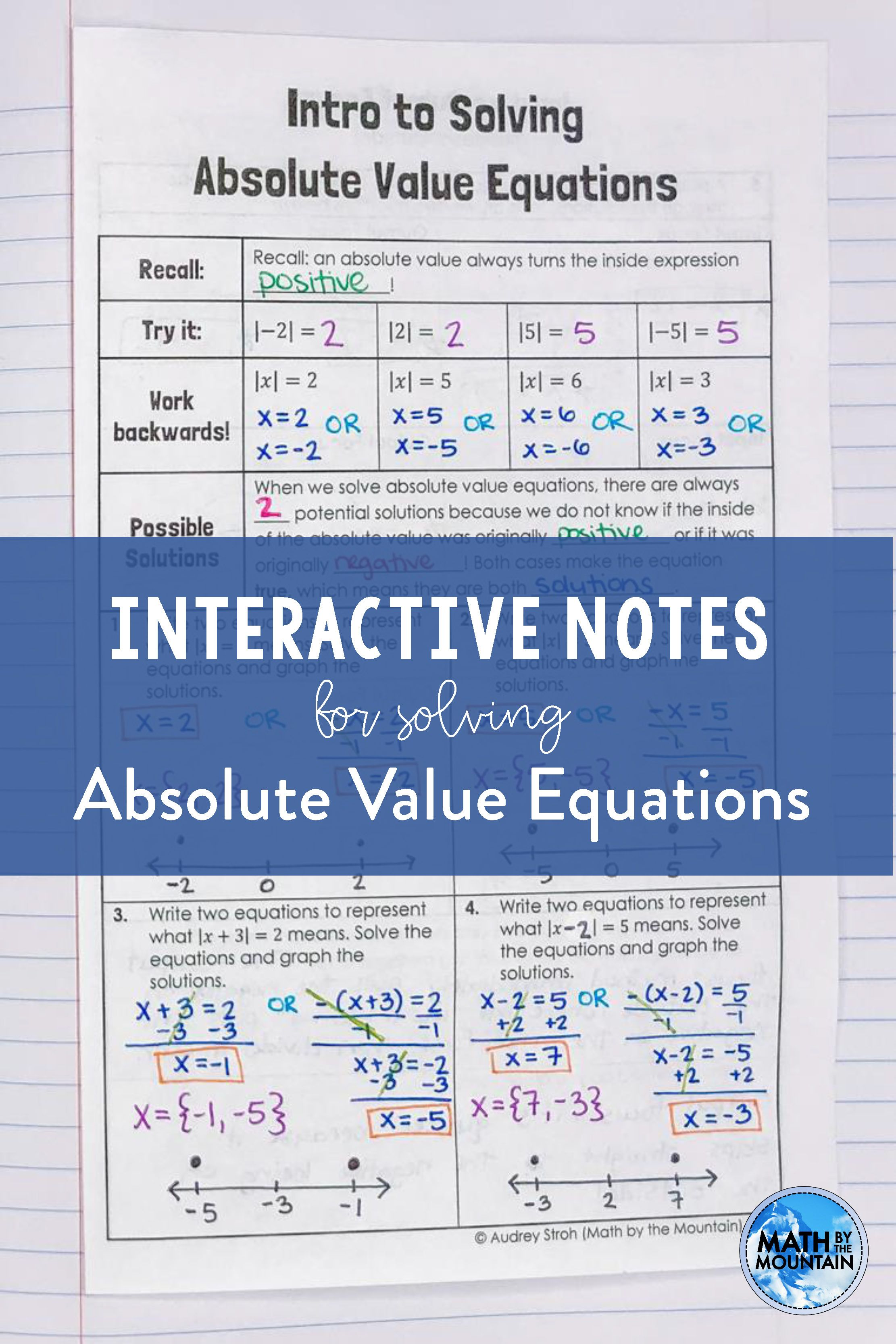 Solving Absolute Value Equations Absolute Value Equations Graphing Inequalities Algebra Lesson Plans