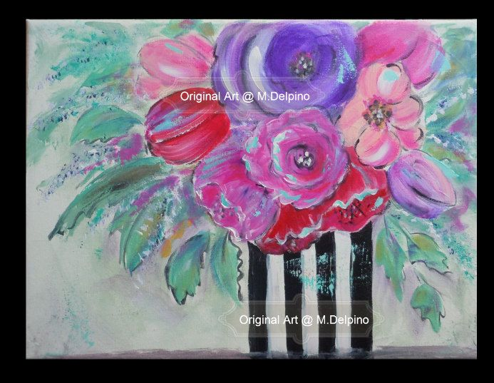 Floral Still Life Bright Colorful Flower Painting