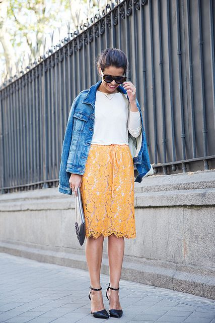 Twin_Set-Orange_Lace_Skirt-Denim_Jacket-Midi_Skirt-Street_Style-ouftit-19 by collagevintageblog, via Flickr