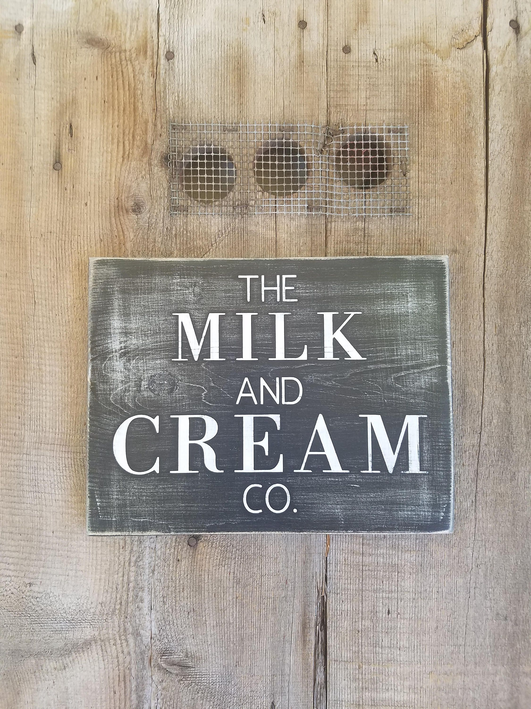 Milk sign milk and cream sign farm sign farmhouse style