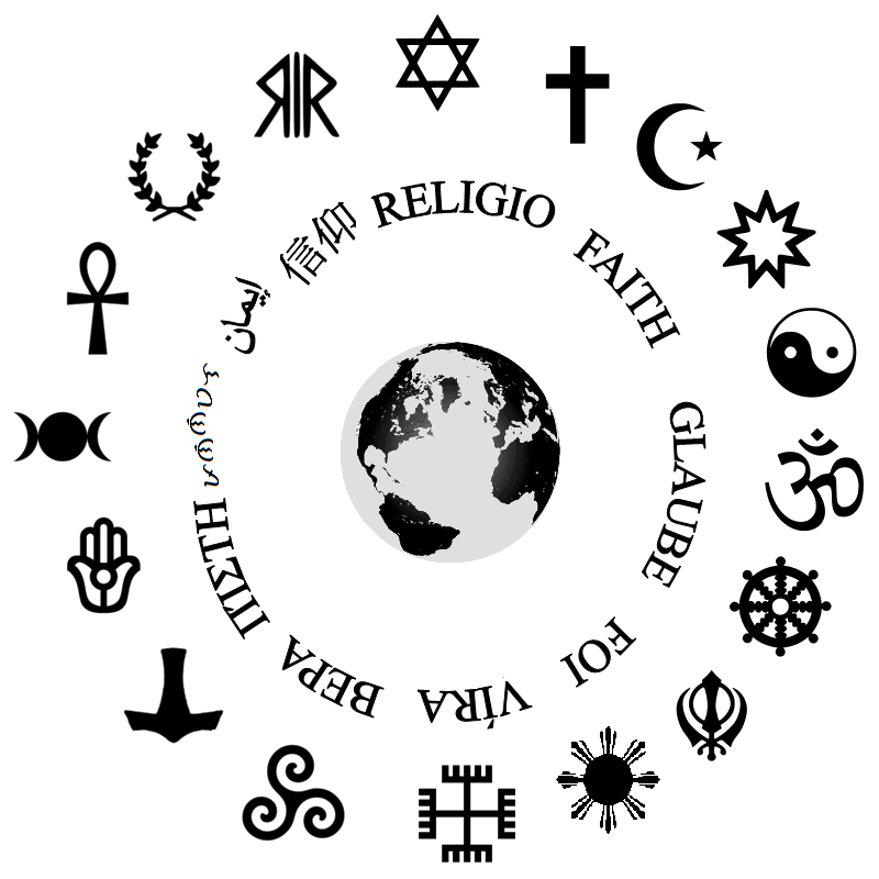 Religious Symbols In Clock Wise Order Judaism Christianity Islam
