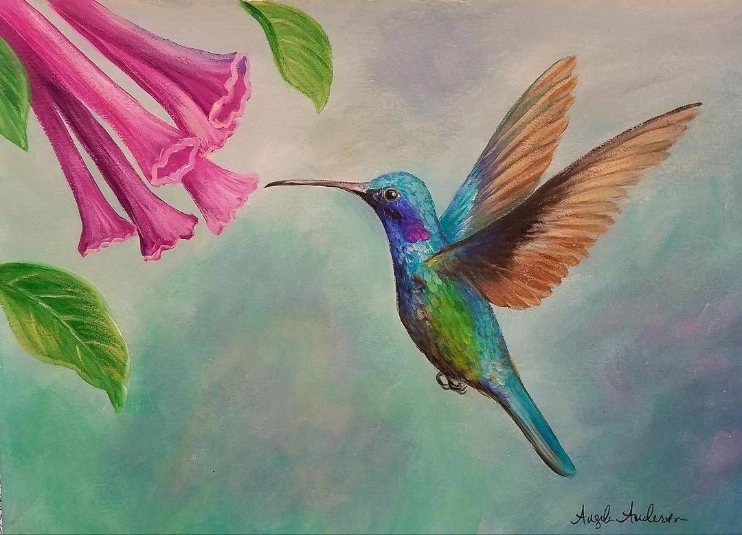 Hummingbird Acrylic Painting Tutorial by Angela Anderson
