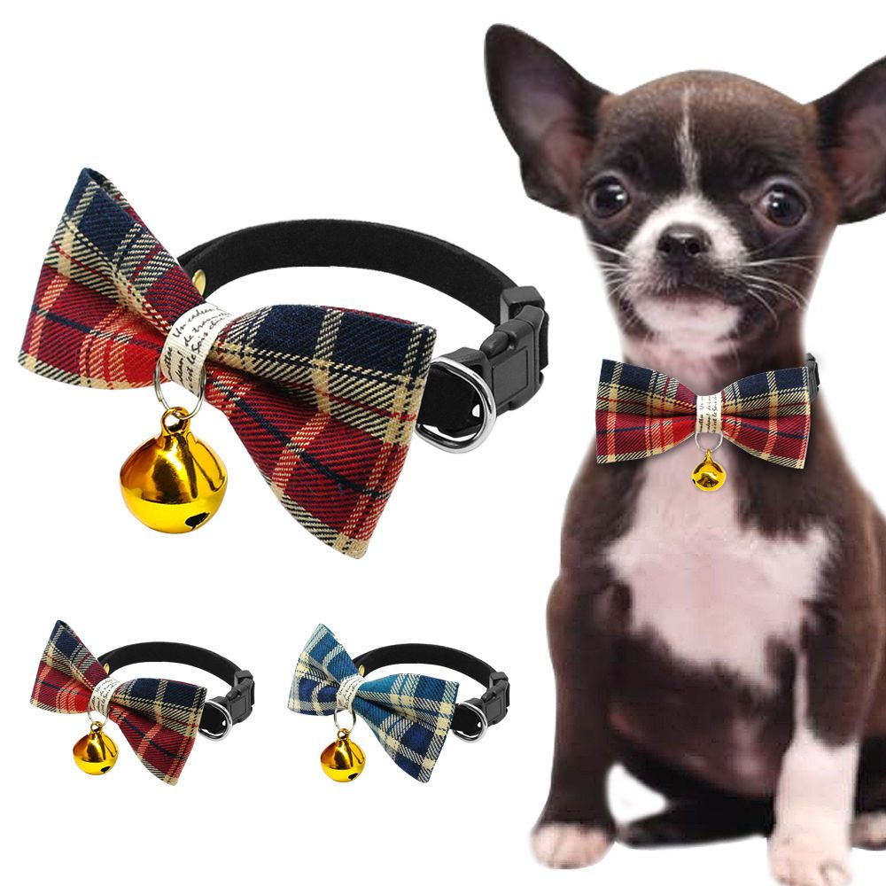 cute bowknot collar dog necklace collar with a bell for