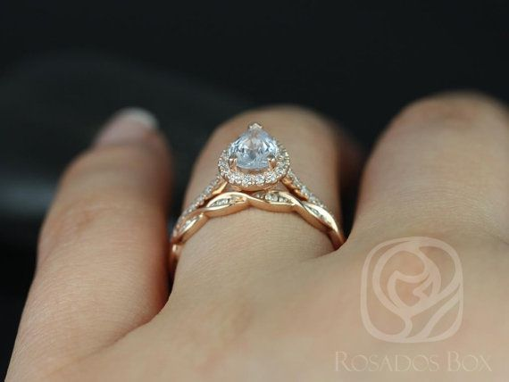 Tabitha 7x5mm & Ember 14kt Rose Gold Pear White by RosadosBox