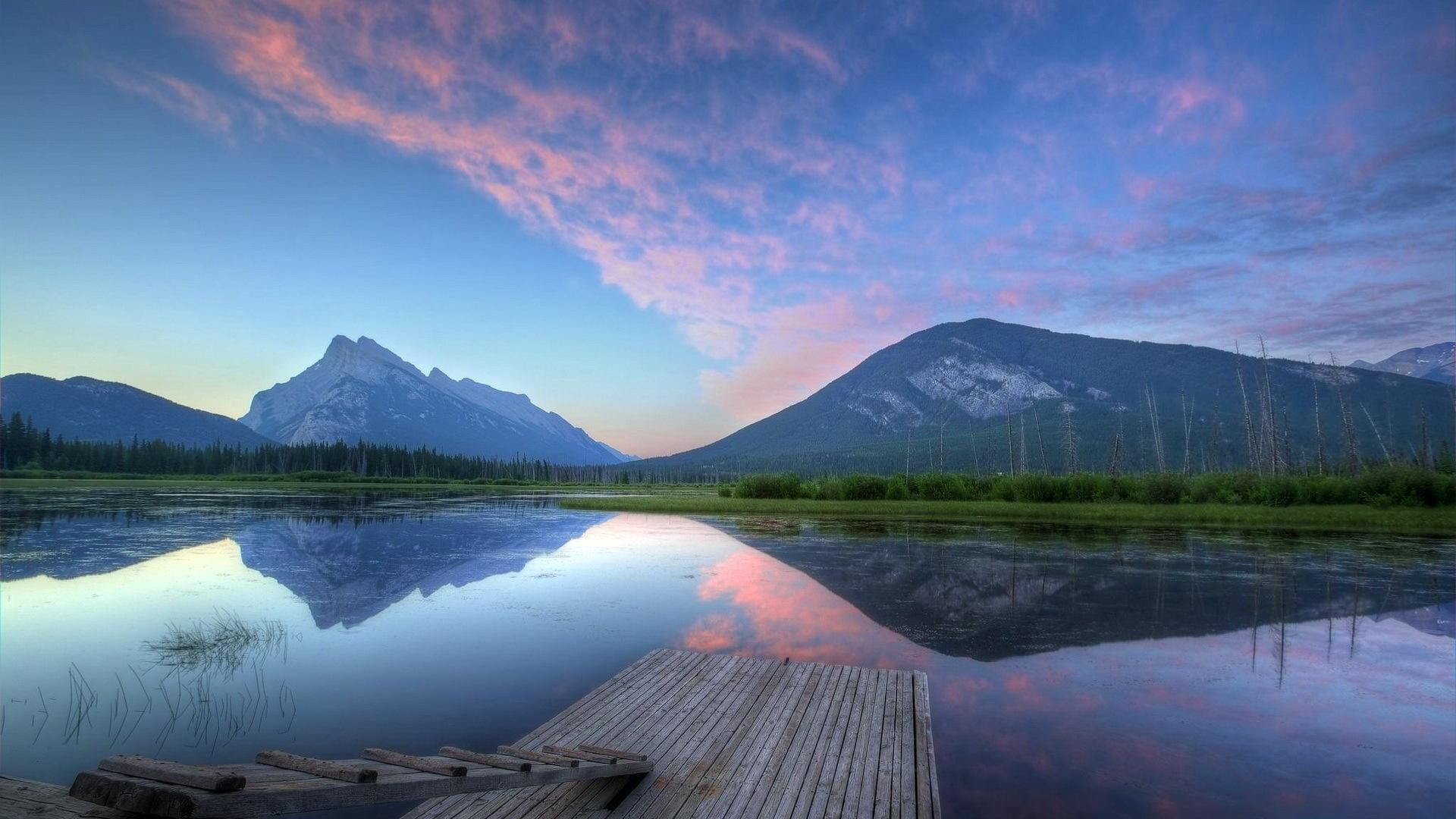 1920x1080 Colorful Vermillion Lake At Sunrise Hd Wallpapers 1080p Scenery Wallpaper Vermillion Lakes Natural Scenery