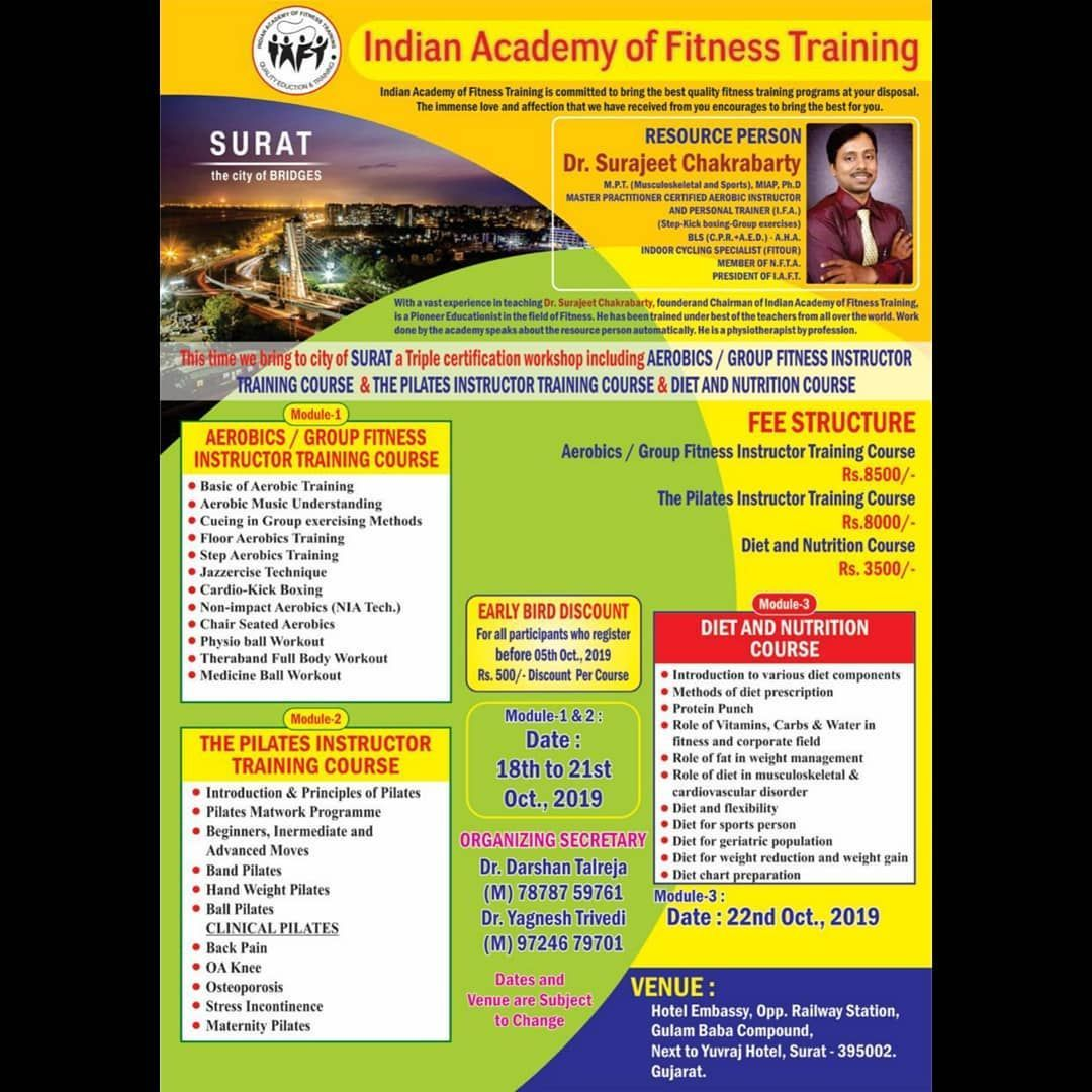 This Time In The City Of Surat Indian Academy Of Fitness Training Brings A Triple Certificati Nutrition Course Pilates Instructor Training Diet And Nutrition