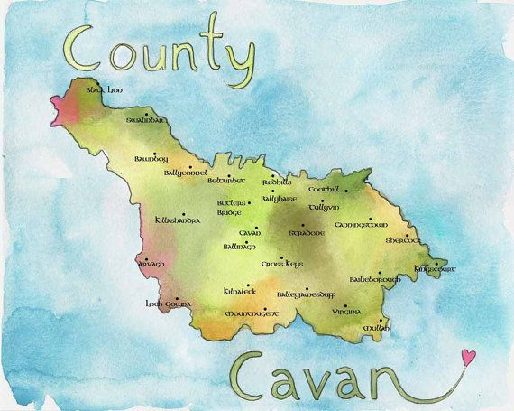 Map Of Ireland Cavan.Map Art Ireland Map County Cavan Ireland Fine Art Watercolor