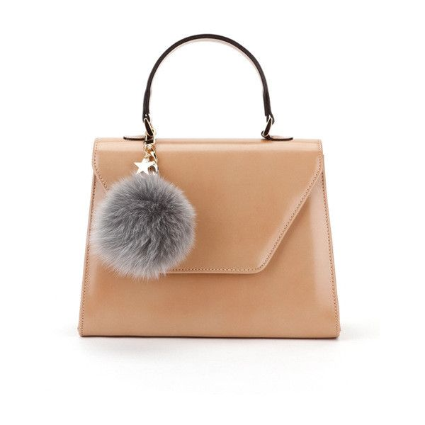 OFFTHERECORD  Pop Pompom Beige Handbag ❤ liked on Polyvore featuring bags 70ff6971e281f