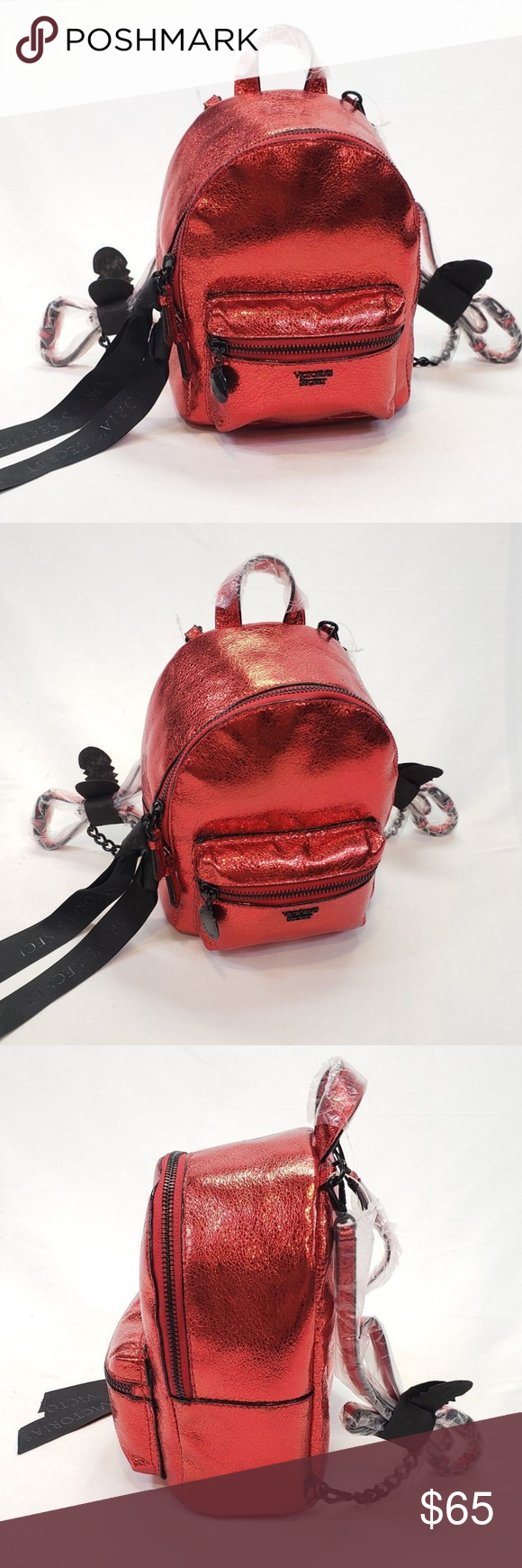 812511a9e65 Victoria s Secret City Crackle Backpack ~ NWT Victoria s Secret Mini CITY  Backpack RED METALLIC CRACKLE Bag