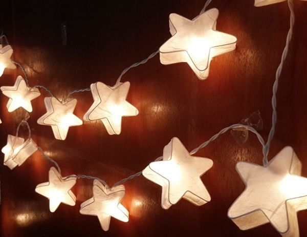 Free Ship STRING LIGHTS STAR WHITE ROMANTIC PAPER PARTYPATIO - Star string lights for bedroom