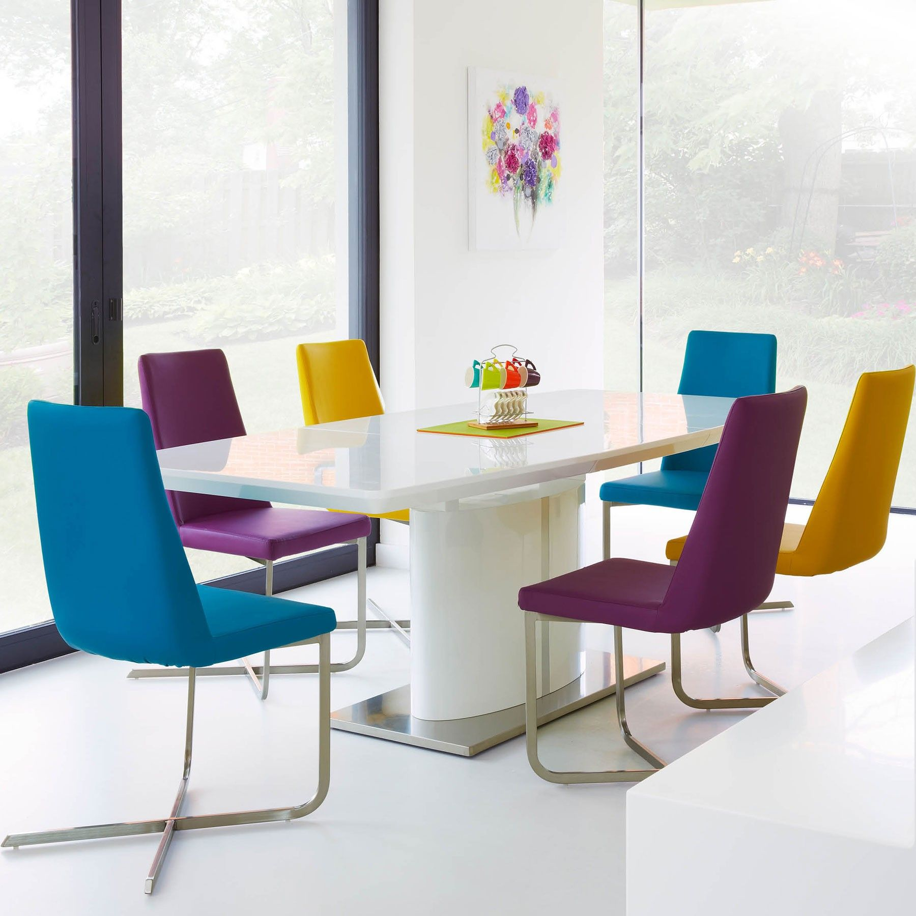 Love This Idea  Plain Table & Bright Colourful Chairscalia Cool High Gloss Dining Room Furniture Decorating Design