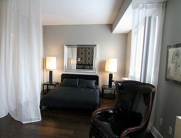 White curtain room divider ideas modern bedroom studio apartment ...