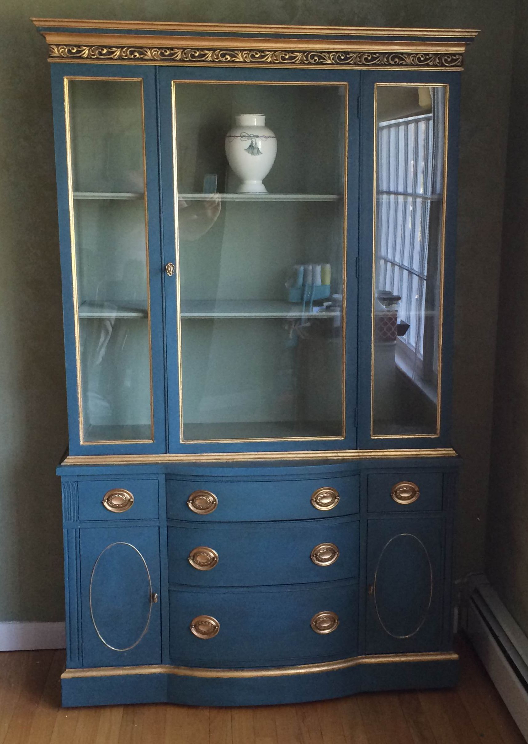 China Cabinet In Aubusson Blue Finished With Clear Than Dark Wax Gold Leaf On Accents Interior Is Custom Mix Of Versailles And