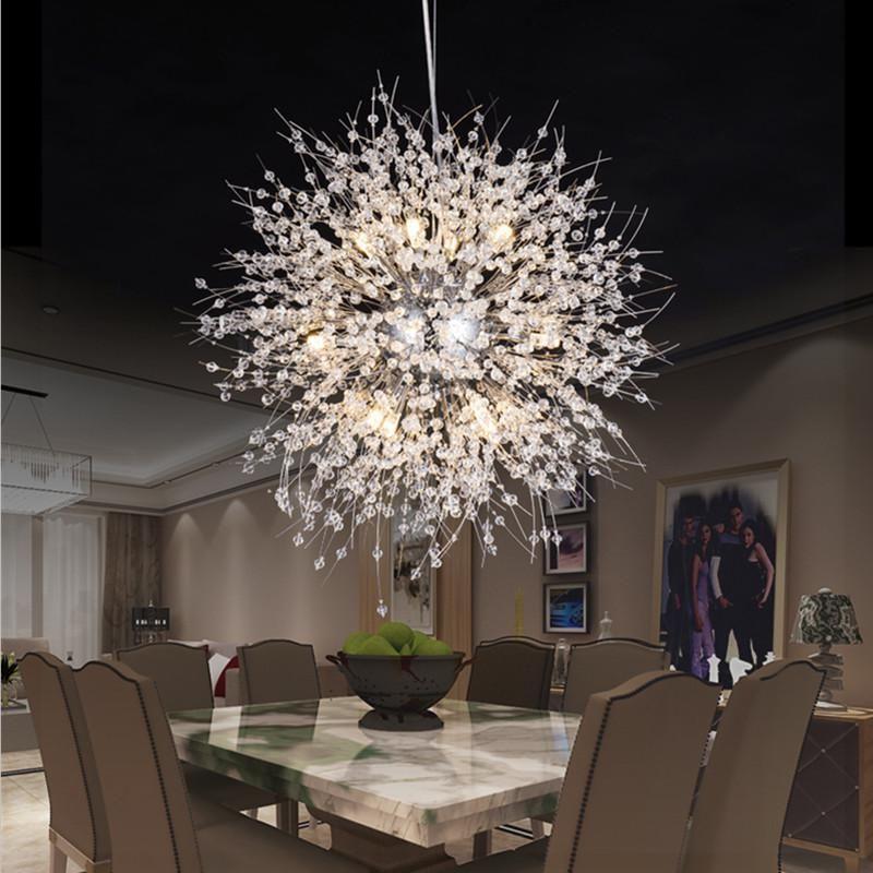 Modern Led Pendant Lights Living Room Round Crystal Lamp Bedroom