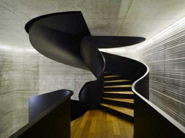 Un intérieur futuriste avec escalier