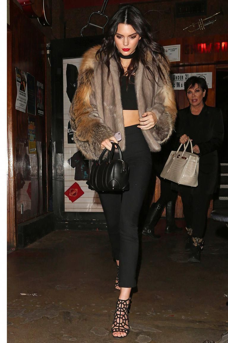 e1f8cdf67ff Kendall Jenner Street Style Black Crop Top Trousers Sergio Rossi Heels  Givenchy Bag and Sally LaPointe Fur Coat Leggings Black Cage Heels