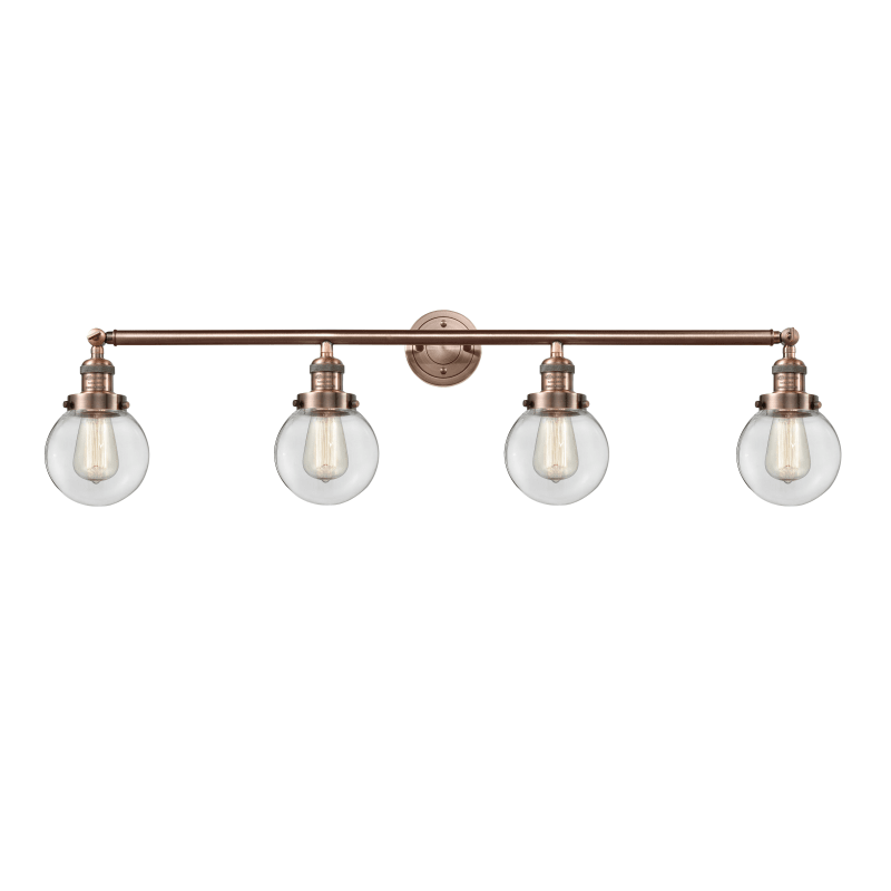 Photo of Innovations Lighting 215-S-6 Beacon Beacon 4 Light 42″ Wide Bathroom Vanity Ligh Antique Copper / Clear Indoor Lighting Bathroom Fixtures Vanity Light