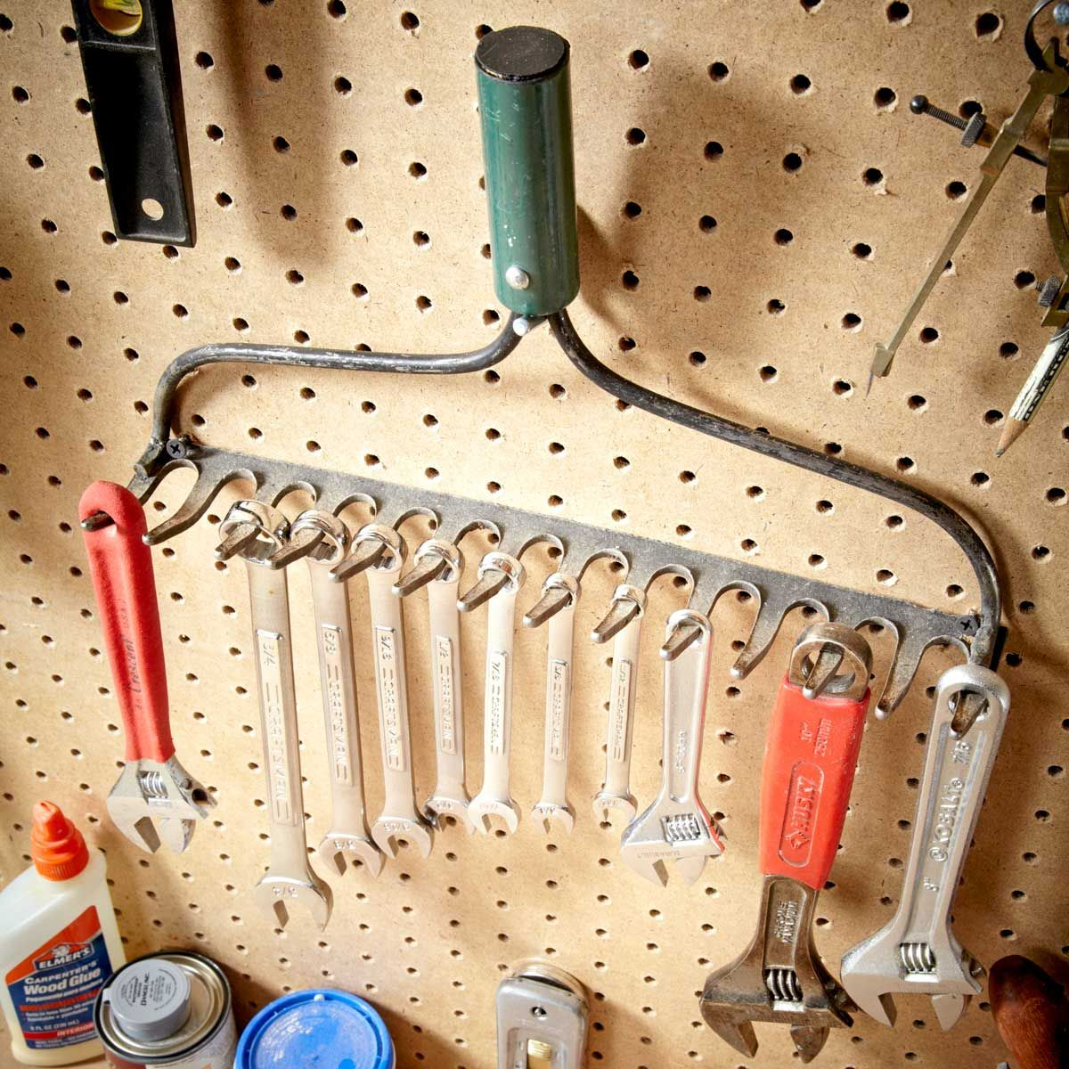 Turn Your Old Garden Rake Into a Shop Storage Solution